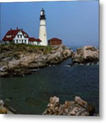 Lighthouse - Portland Head Maine Metal Print by Frank Romeo