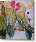Flygende Lammet   Productions             3 Love Birds Perched Metal Print