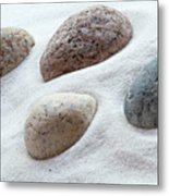 Meditation Stones On White Sand Metal Print