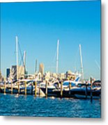 Miami Florida City Skyline Morning With Blue Sky Metal Print