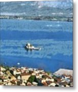 Nafplio Town And Bourtzi Fortress Metal Print