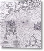 Part Of Captain J Smith's Map Of New England Metal Print