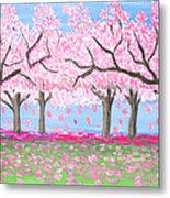 Pink Garden, Oil Painting Metal Print