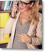 Pregnant Woman At Work Metal Print