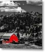 Red Barn In Wyoming Metal Print