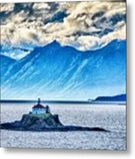 Remote Lighthouse Island Standing In The Middle Of Mud Bay Alask Metal Print