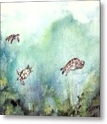 3 Sea Turtles Metal Print