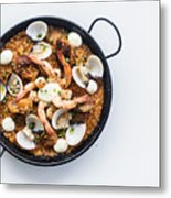 Seafood And Rice Paella Traditional Spanish Food Metal Print