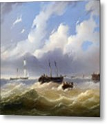 Ships On A Stormy Sea Metal Print