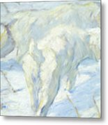 Siberian Dogs In The Snow Metal Print