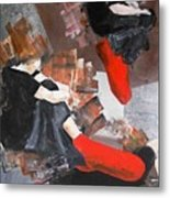3 Siluets In Red Socks Metal Print