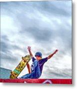 skate park day, Skateboarder Boy In Skate Park, Scooter Boy, In, Skate Park Metal Print