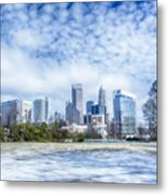 Snow And Ice Covered City And Streets Of Charlotte Nc Usa Metal Print