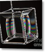 Soap Films On A Cube Metal Print