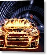 Sports Car In Flames Metal Print