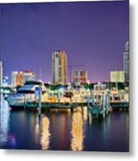 St Petersburg Florida City Skyline And Waterfront At Night Metal Print