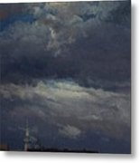Stormclouds Over The Castle Tower In Dresden  Metal Print