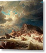 Stormy Sea With Ship Wreck Metal Print