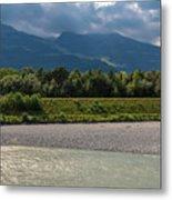 The River Rhine Between Liechtenstien And Switzerland Metal Print