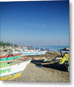 Traditional Fishing Boats On Dili Beach In East Timor Leste Metal Print