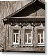 Traditional Old Russian House Facade Metal Print