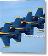 U S Navy Blue Angeles, Formation Flying, Smoke On Metal Print