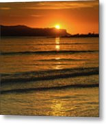 Vibrant Orange Sunrise Seascape Metal Print