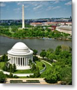 View Of The Jefferson Memorial And Washington Monument Metal Print