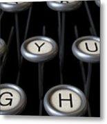 Vintage Typewriter Keys Close Up Metal Print