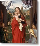 Virgin And Child With Four Angels Metal Print