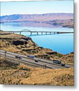 Wanapum Lake Colombia River Wild Horses Monument And Canyons Metal Print