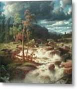Waterfall In Smaland Metal Print