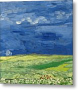 Wheat Field Under Thunderclouds Metal Print