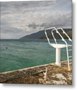 White Ladder Of A Diving Board At The Beach In Cres Metal Print