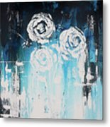 3 White Roses Metal Print