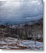 Winter Landscape And Snow Covered Roads In The Mountains Metal Print