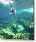 Woman Free Diving Metal Print