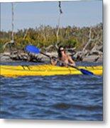 Woman Kayaking Metal Print