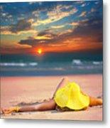 Woman On The Beach Metal Print