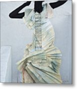 Woman With Black Boby Paint In Paper Dress Metal Print