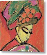 Young Girl With A Flowered Hat Metal Print