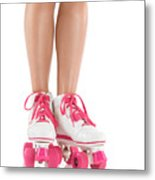 Young Woman Wearing Roller Derby Skates Metal Print