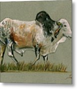 Zebu Cattle Art Painting Metal Print