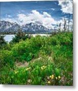 The White Pass And Yukon Route On Train Passing Through Vast Lan Metal Print