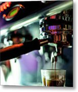Making Espresso Coffee Close Up Detail With Modern Machine Metal Print