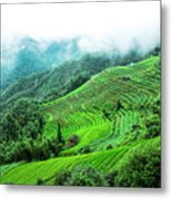 Mountain Scenery In Mist Metal Print