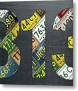 313 Area Code Detroit Michigan Recycled Vintage License Plate Art Metal Print