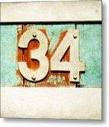 34 On Weathered Aqua Metal Print