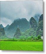 Karst Mountains Rural Scenery Metal Print