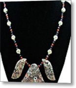 3521 Crinoid Fossil Jasper Necklace Metal Print
